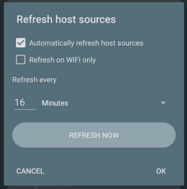 Host source refresh dialog