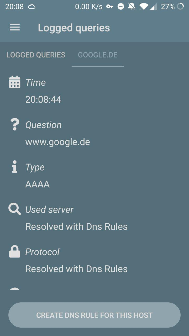 Query log detail (Resolved with DNS rules)